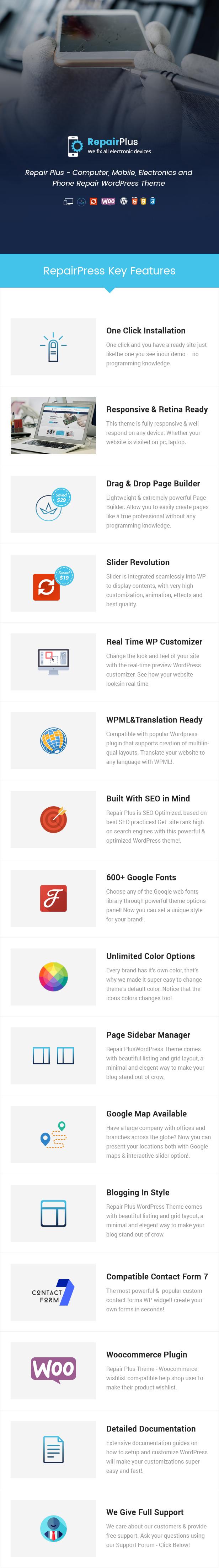 Repair Plus – Computer, Mobile, Electronics and Phone Repair WordPress Theme